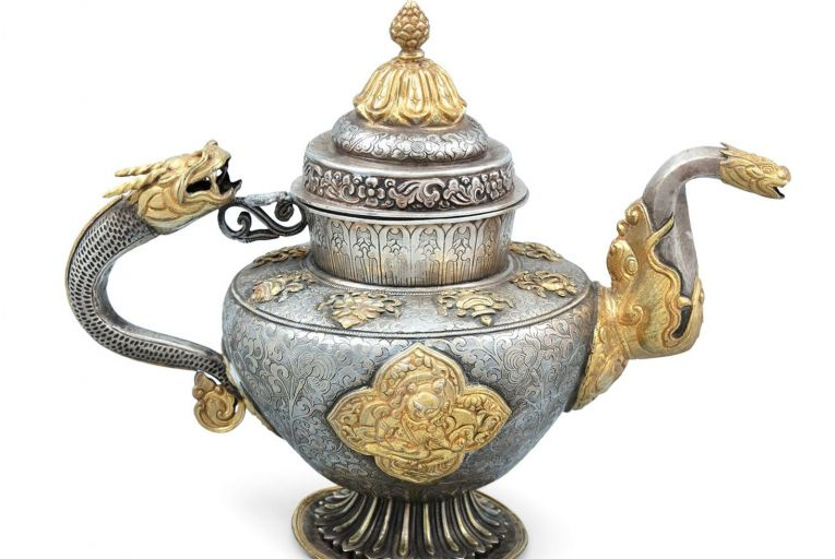 A silver and parcel gilt Tibetan teapot is quite unlike any we have in the West