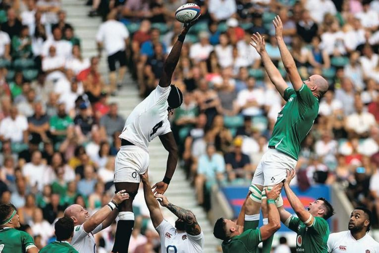 England's Maro Itoje steals a line-out from Devin Toner of Ireland at Twickenham last month Pic: Inpho/James Crombie