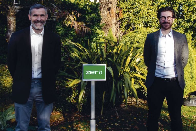 Seamus Devitt and Nathan Misischi with their AI recycling assistant Zero