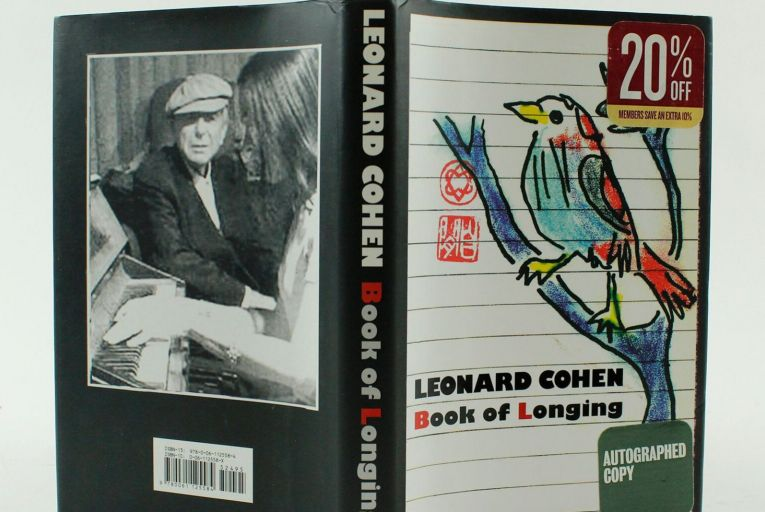 Leonard Cohen's Book of Longing, signed and illustrated by the author is one of the highlights of Fonsie Mealy's sale