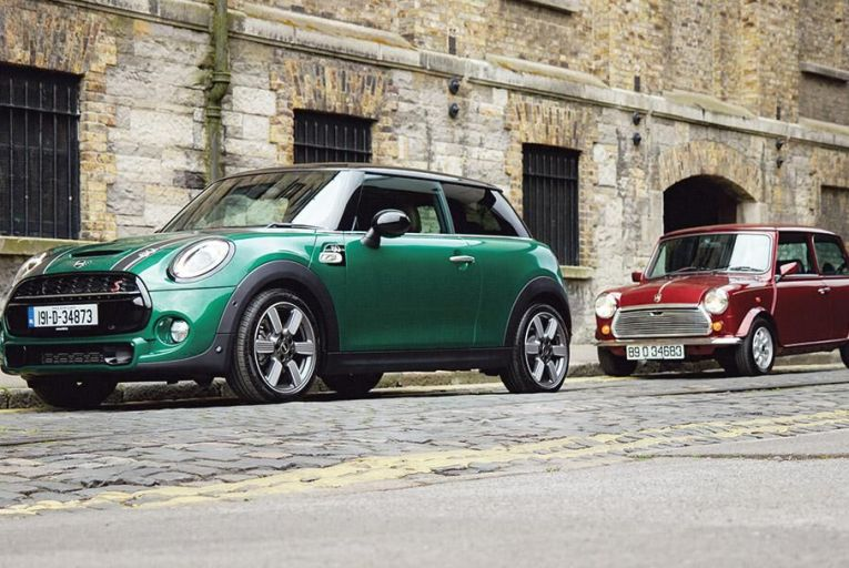 Side by side: a modern Mini and its older counterpart