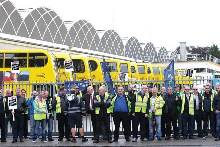 Striking Dublin Bus workers at Donnybrook bus depot in the south of the city: they argue they  havent seen a pay rise in eight years Picture: Colllins