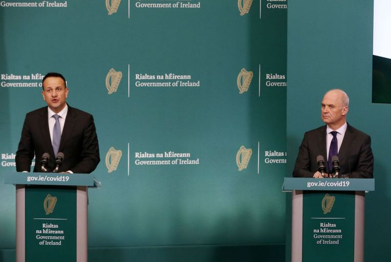 Leo Varadkar, the then Taoiseach, pictured alongside Tony Holohan, the chief medical officer, in March of this year. The now Tánaiste was strongly critical of Nphet's calll to move the entire country to level 5 Covid-19 restrictions.