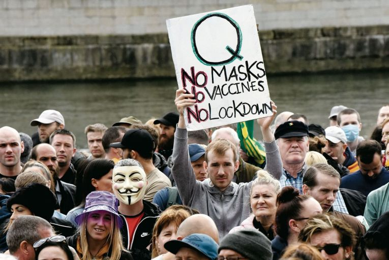 Last week's protest against vaccines and the mandatory wearing of masks at Dublin's Custom House. Picture: Bryan Meade