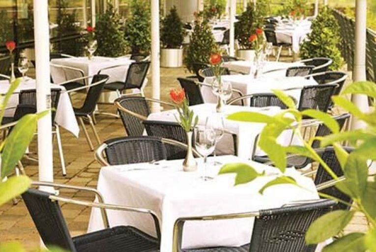 The terrace at Cork's River Lee hotel, before the renovation, appeared sterile and cold