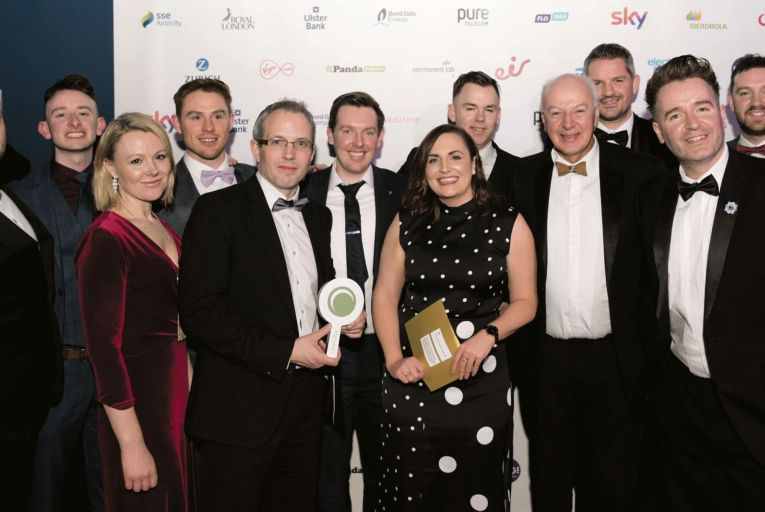 The Vodafone team pick up the Grand Prix prize for Best Consumer Business at the Bonkers.ie National Consumer Awards
