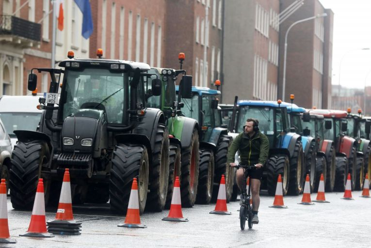 Beef farmers protesting in Dublin in January: the industry was in turmoil even before the Covid-19 pandemic took hold. Picture: Leah Farrell/RollingNews.ie