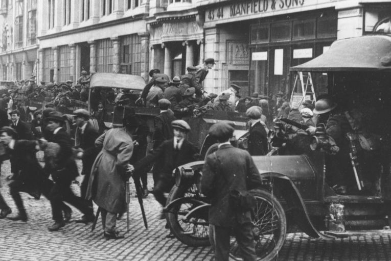 Black and Tans and British soldiers at the junction of Abbey Street and O'Connell Street, Dublin, during the War of Independence. Picture: Getty