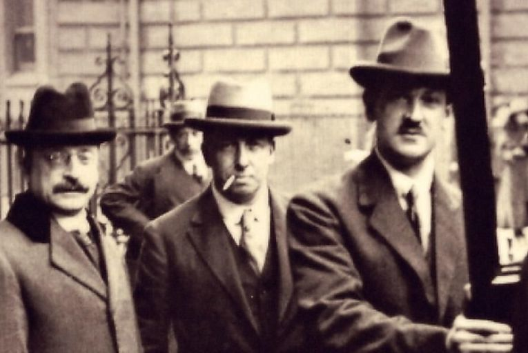 Arthur Griffith (left) and Michael Collins (second right): the Anglo-Irish Treaty they signed almost a century ago constituted an existential question for this countryGetty