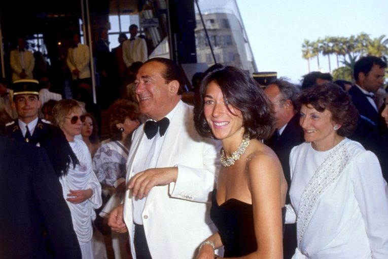 Ghislaine Maxwell at a party on the Lady Ghislaine yacht with her parents Robert and Elisabeth around 1990: Ghislaine Maxwell is awaiting trial in New York in relation to her alleged involvement with serial abuser of underage girls Jeffrey Epstein