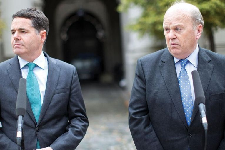 Michael Noonan and Paschal Donohoe Pic: RollingNews.ie