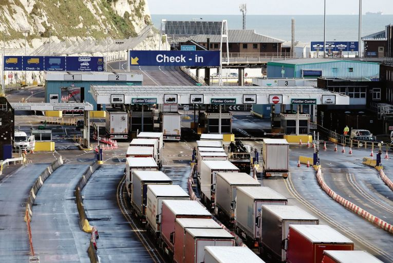 Lorries at the Port of Dover in Kent, where traffic is returning to normal levels after a quiet start to the year: FDI used to be able to be counted in tangible good like these but it's harder to measure intangible capital such as patents and algorithms  Picture: PA