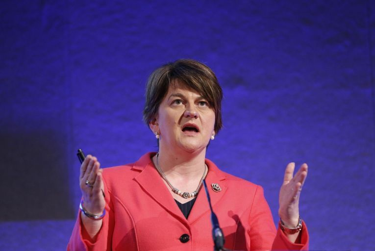 Arlene Foster will officially step down from her role as first minister at lunchtime today, starting a seven-day window within which a new first minister and deputy first minister must be approved to avoid early elections. Picture: Rollingnews.ie