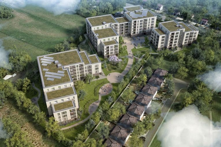 Marlet's 307-apartment development at Green Acres Grange will rise to eight storeys overlooking Airfield Farm
