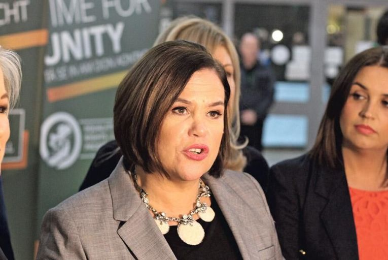 Michelle O'Neill, Mary Lou McDonald and Elisha McCallion at the Sinn Féin Ard Fheis in Derry