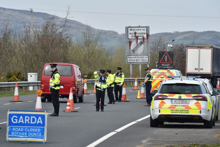 Gardaí check for non-essential travel on the border: 'An all-island solution is not about orange or green,' David Cullinane told Pat Kenny last week. Picture: Getty