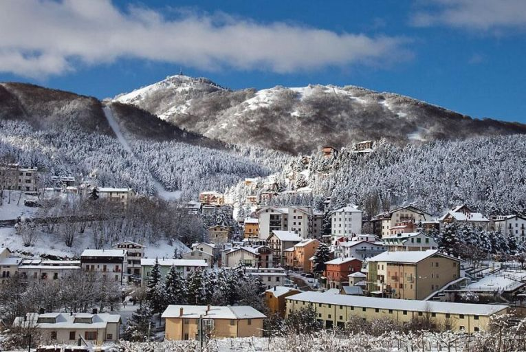 Roccaraso covered in snow during the winter season
