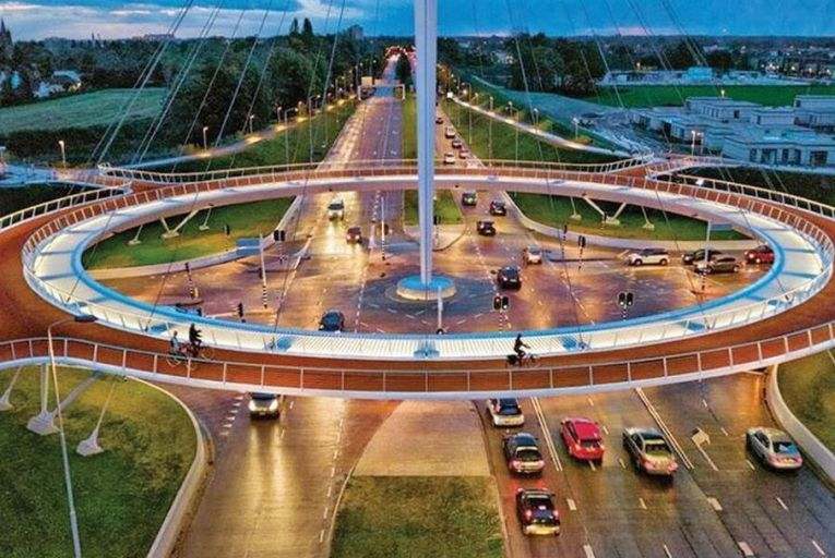 The Hovenring bike roundabout in the Netherlands; other European countries are way ahead of us when it comes to important capital investment