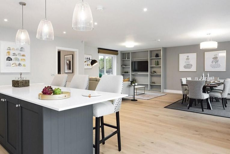 An open-plan living/dining/kitchen area in one of the new houses at Barnhall Meadows in Co Kildare