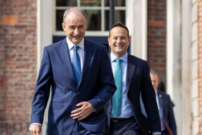 Taoiseach Micheál Martin and Tánaiste Leo Varadkar with Stephen Donnelly, the Minister for Health: the anticipated bounce for the successful vaccine rollout has largely gone to Fine Gael rather than Fianna Fáil. Picture: RollingNews