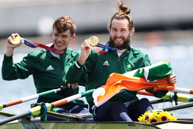 Fintan McCarthy and Paul O\'Donovan pose with their medals after winning the Lightweight Men\'s Double Sculls Final A in Tokyo. Picture: Maja Hitij/Getty Images