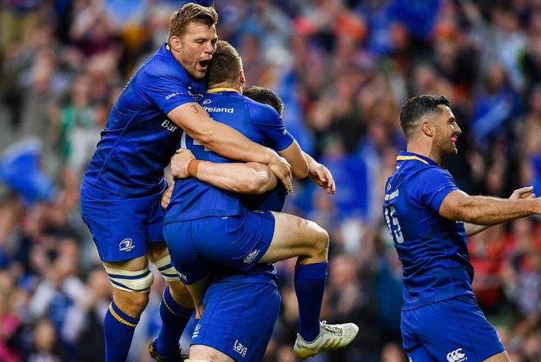 Leinster celebrate a try during the Guinness Pro14 final against Scarlets. Pic: Getty