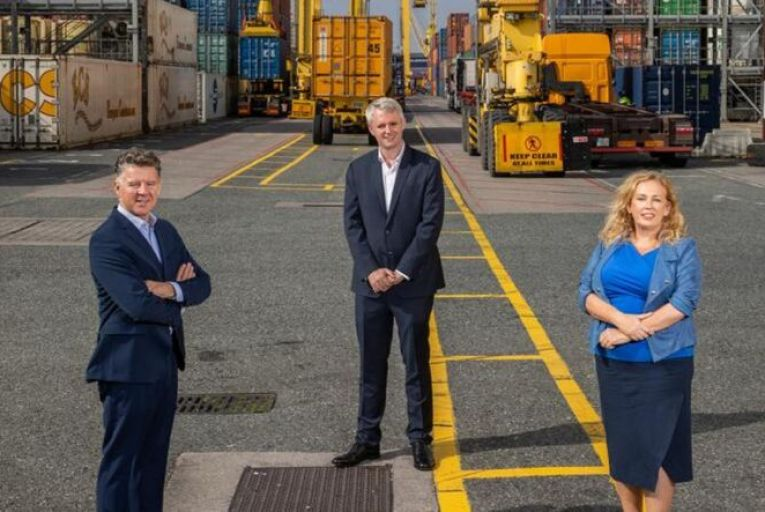 BDO's Michael Costello (left) and Carol Lynch with Fexco's Denis McCarthy (centre) at Dublin Port
