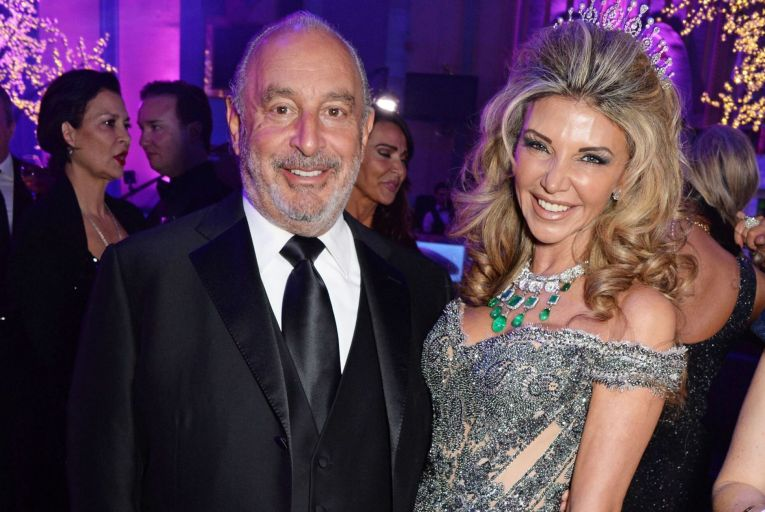 Philip Green, chief executive of Topshop's parent company Arcadia, with the multi-millionaire Lisa Tchenguiz. Credit: Getty