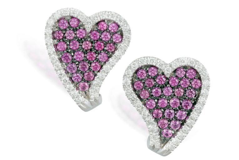 Pink sapphire and diamond heart-shaped earrings (€1,600-€2,200)