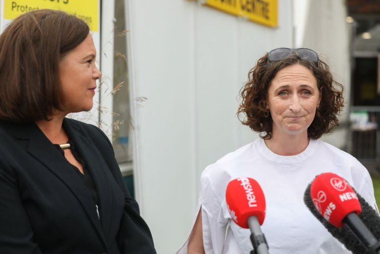 Lynn Boylan, Sinn Féin's candidate pictured with party leader Mary Lou McDonald, spent the most on online ads in the past month. Labour's Ivana Bacik looks set to claim the seat after tallies. Picture: Leah Farrell/RollingNews.iie