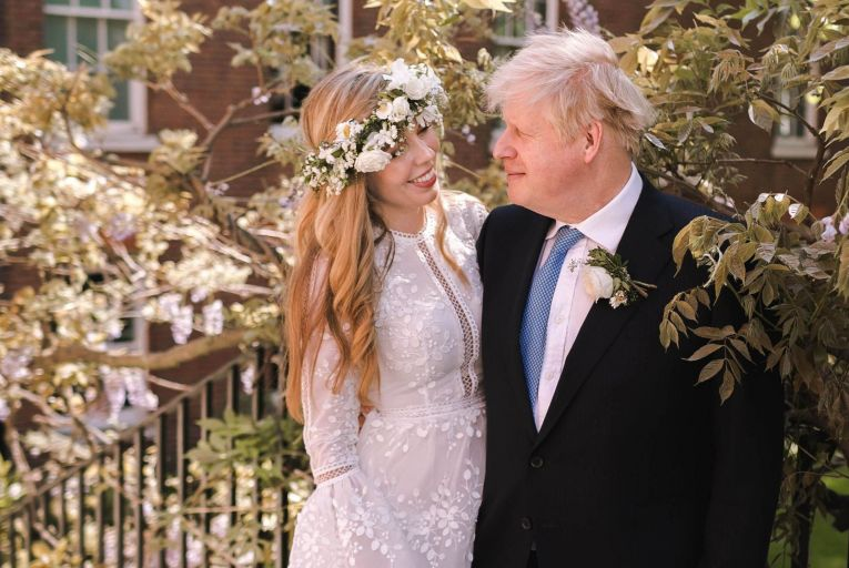 British Prime Minister Boris Johnson and his wife Carrie after their wedding: the fact that twice-divorced Johnson was allowed to marry in a Catholic Church was the source of much speculation. Picture: Downing Street/Getty Images