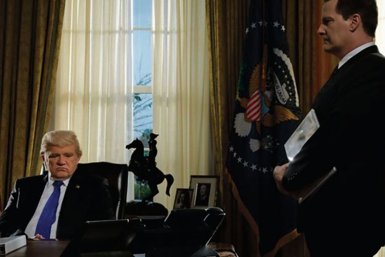 Brendan Gleeson and Jeff Daniels in The Comey Rule