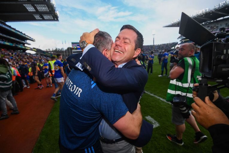 Declan Kelly of Teneo, which sponsors the Tipperary hurlers, embraces team manager Liam Sheedy at the end of the 2019 All-Ireland hurling final at Croke Park. PIcture: Getty