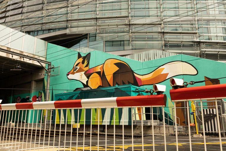 One of the Irish Rail Street Art Urban Wildlife Murals at the Aviva stadium in Dublin