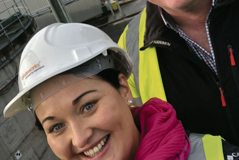Emer Conroy, director of LotusWorks, conducting an onsite safety walk with LotusWorks account manager Keith McElkearney