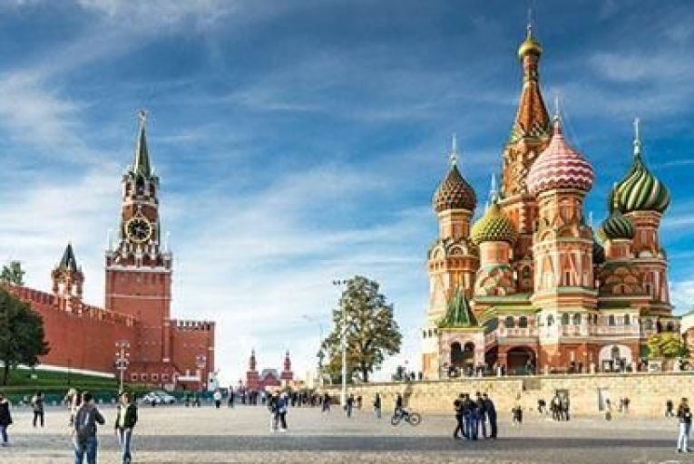 St Basil's Square in Red Square in Moscow Picture: Getty