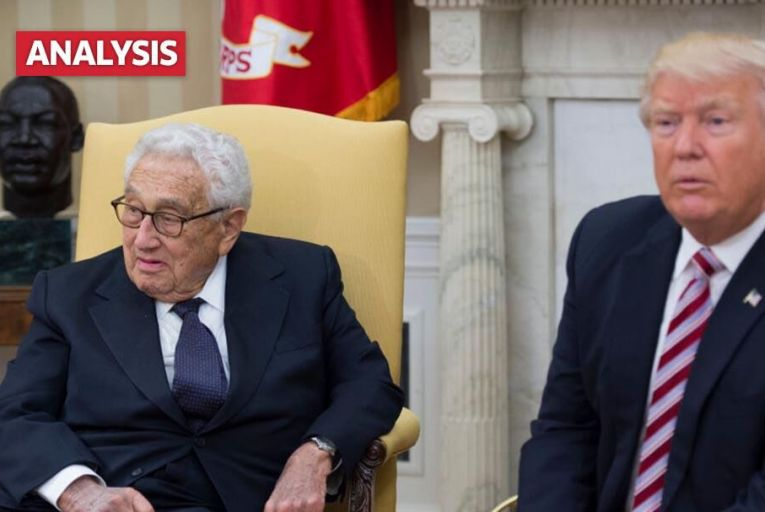 Donald Trump met former Secretary of State Henry Kissinger in the White House yesterday Pic: Getty