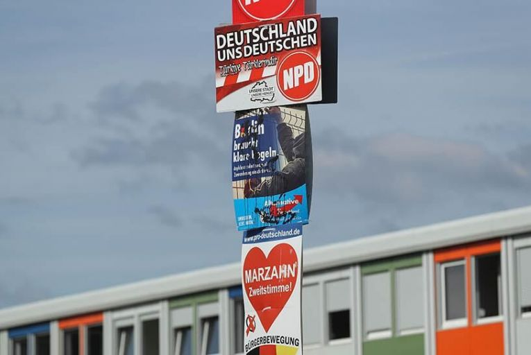 BERLIN, GERMANY - SEPTEMBER 20: Election posters for political parties including the far-right NPD and Buergerbewegung pro Deutschland