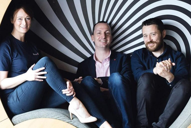 Rebelcon co-founders Stephanie  Sheehan of Poppulo, Aidan Casey  of Johnson Controls and  Damien Daly of Poppulo  Picture: Darragh Kane