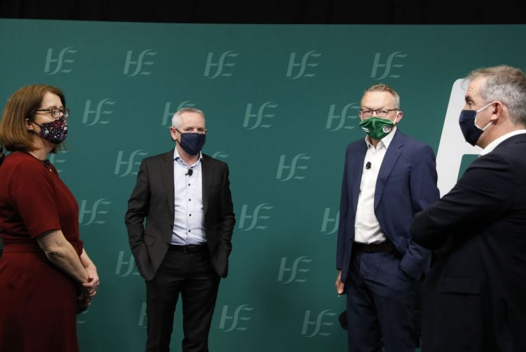 Under pressure: Anne O\'Connor, chief operating officer, HSE; Paul Reid, chief executive HSE; Dr Colm Henry, chief clincial officer, HSE;and Damien McCallion, HSE national lead of vaccination programme. Photograph: Leon Farrell/Photocall Ireland