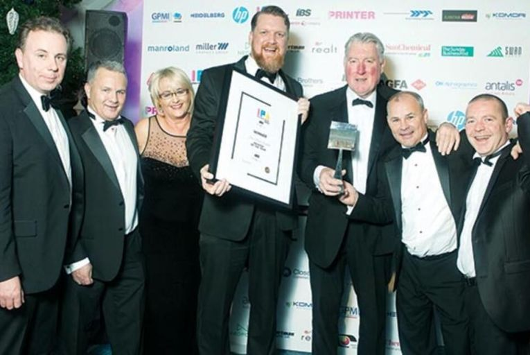 Norman McNellis, Peter Kenny, Phyllis Kenny, Ciaran Smith, Dan Smith, John Kenny, Derek Smith from Print Plus, which won  Printer of the Year