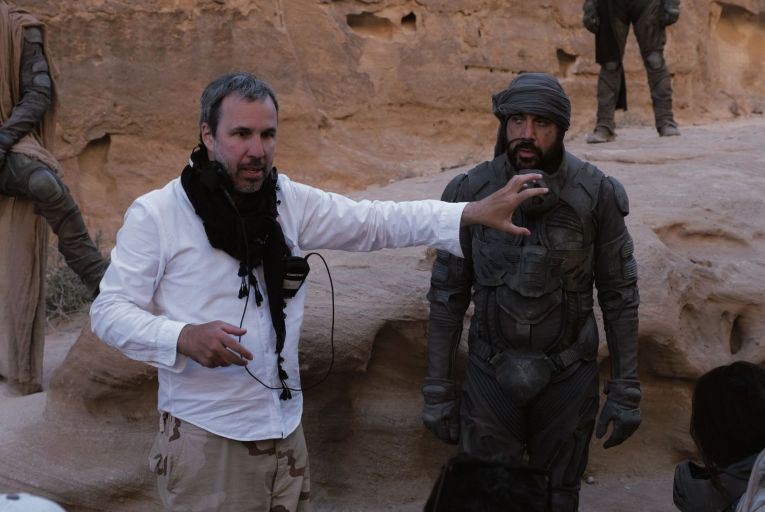Denis Villeneuve and Javier Bardem on the set of Dune, an intricate epic about politics, philosophy, ecology and religion, set on multiple planets with dozens of characters