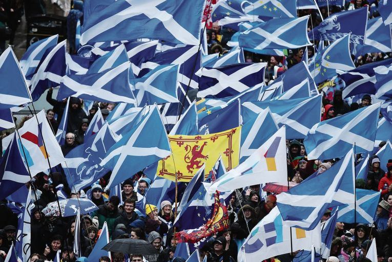 Protesters attend a march calling for Scottish independence in Glasgow last January: a poll by Ipsos MORI earlier this month showed support for Scottish independence at 58 per cent, the highest it has ever been. Photo: Getty
