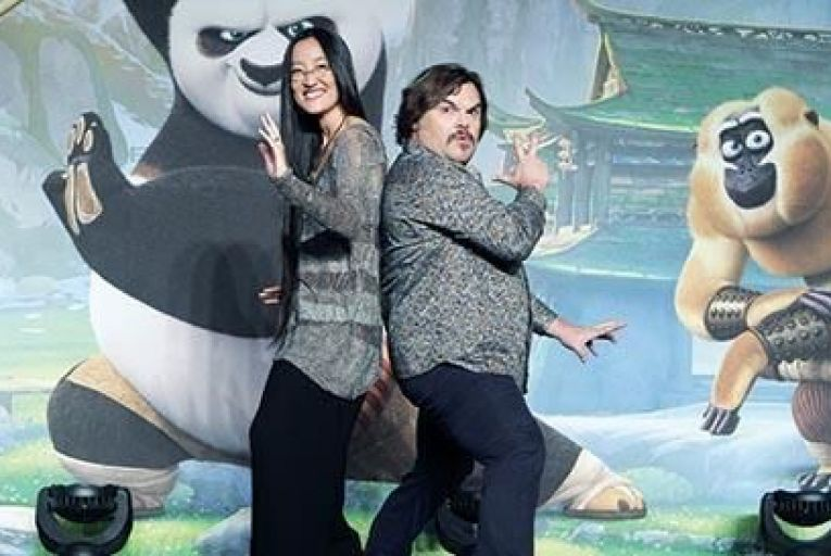 Jennifer Yuh Nelson and Jack Black visiting South Korea to promote Kung Fu Panda 3 Picture: Getty