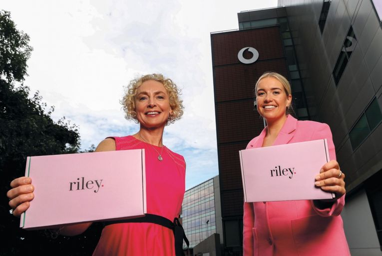 Anne O'Leary, chief executive of Vodafone Ireland, with Fiona Parfrey, co-founder of Riley