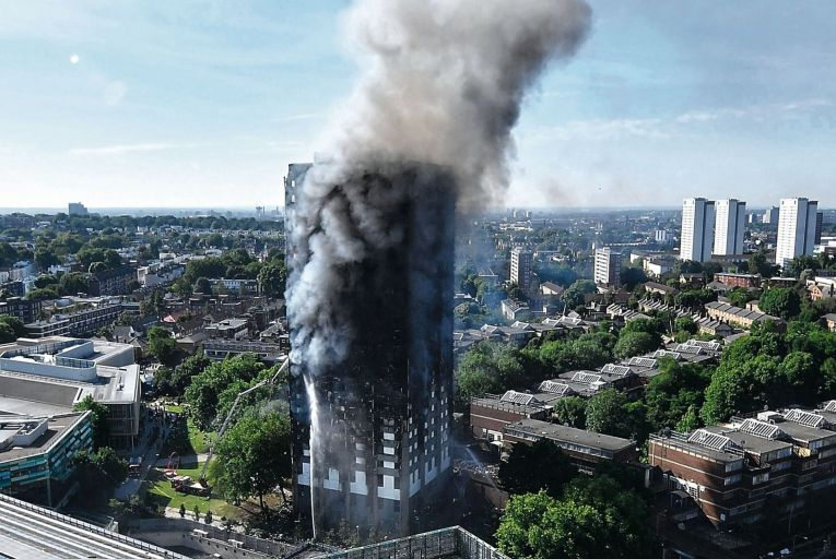 Fire engulfs the 24-storey Grenfell Tower block in Latimer Road, West London in the early hours of June 14, 2017 in London. Seventy-two people lost their lives in the fire. Picture: Getty