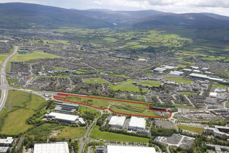 An aerial shot of the 6.46-acre landbank at Citywest in Dublin