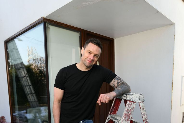 Niall Breslin gets to work on his new house Greystones, Co Wicklow. Picture: Bryan Meade