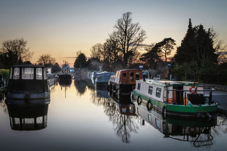 Long boats and barges docked at the 12th lock in Dublin's Royal Canal Pic: Getty