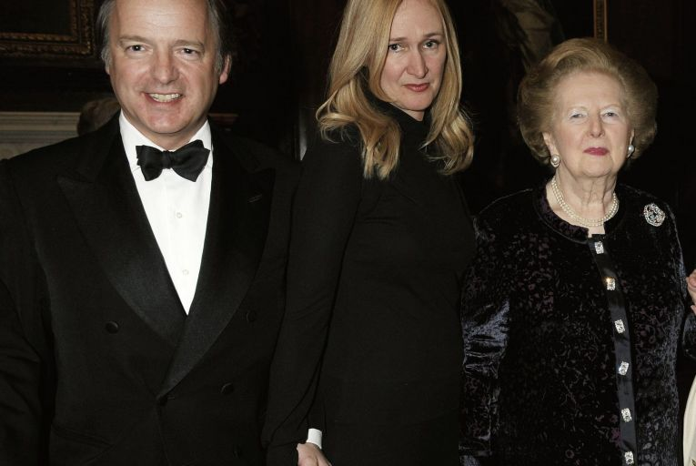 Sasha Swire, centre, author of Diary of an MP's Wife: Inside and Outside Power, with her husband Hugo, a former MP for East Devon, and former British prime minister Margaret Thatcher in 2010. Picture: Shutterstock